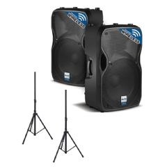 2 x 550W Wireless or Wired Powered Speaker or Monitor + Speaker Stands Package (Hire Cost Per Day)